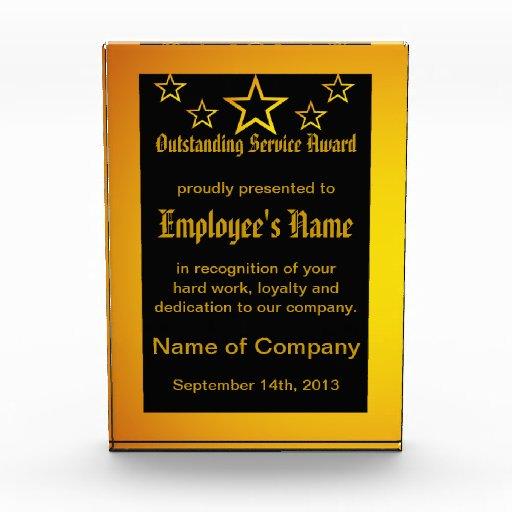 Employee Outstanding Service Award Plaque Block Zazzle