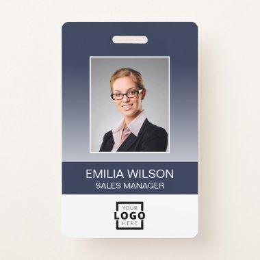 Employee Photo, Bar Code, Logo, Name Gradient Badge