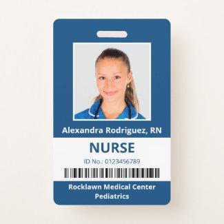 Employee Photo Barcode Blue White Medical ID Badge
