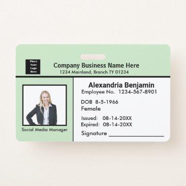 Employee Photo Name Logo Bar Code ID Card Custom Badge