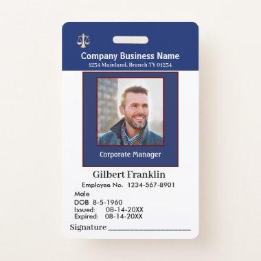 Employee Photo Signature Logo Name Custom ID Badge