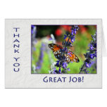 Employee Thank You Butterfly and Flowers Card