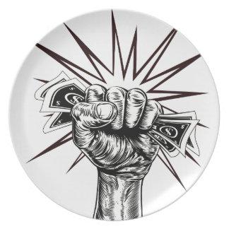Employment revolution concept party plate