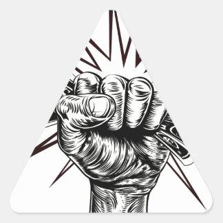 Employment revolution concept triangle sticker