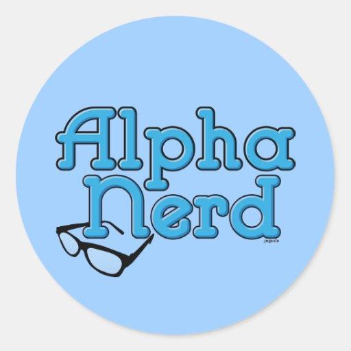 Empollón alfa pegatina redonda