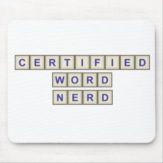 Empollón certificado de la palabra alfombrilla de ratones