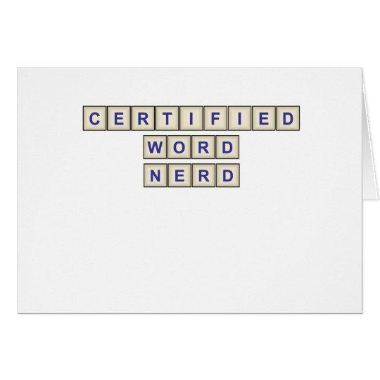 Empollón certificado de la palabra tarjeta de felicitación