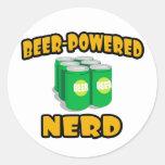 Empollón Cerveza-Accionado Etiquetas Redondas