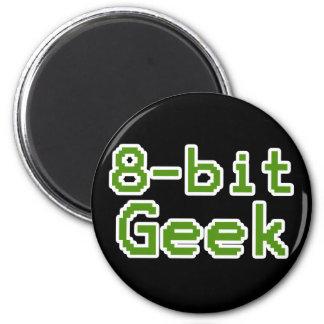 empollón chistoso del friki de 8 bits imán redondo 5 cm