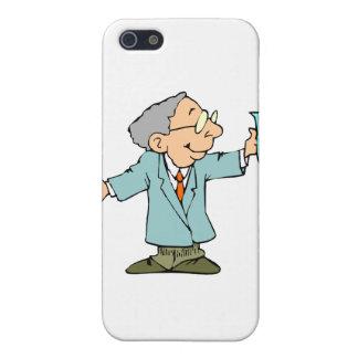 Empollón del científico en capa del laboratorio co iPhone 5 carcasa