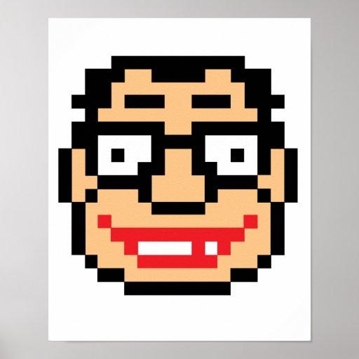 Empollón del friki del pixel poster