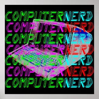 Empollón del ordenador del estilo del vintage del póster