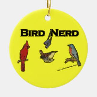 Empollón del pájaro adorno navideño redondo de cerámica