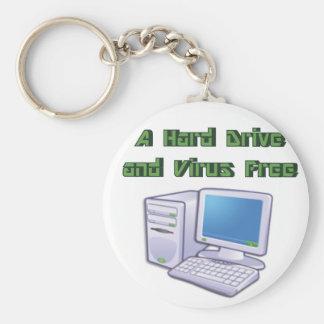 Empollón libre del friki del ordenador del virus r llaveros personalizados