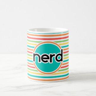 Empollón, rayas brillantes del arco iris taza de café