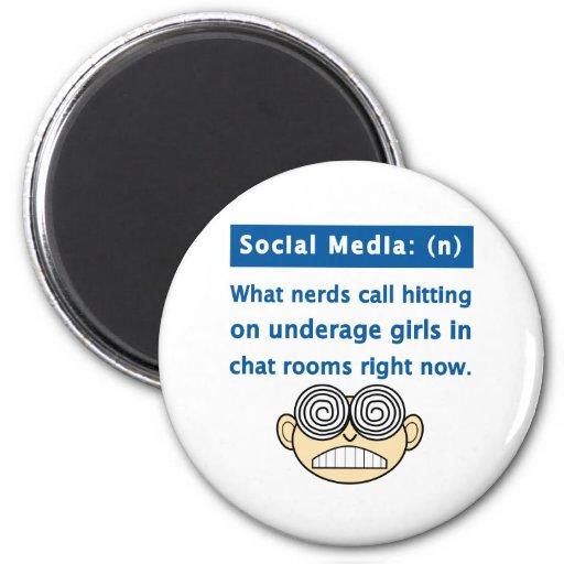Empollón social de los medios imán redondo 5 cm