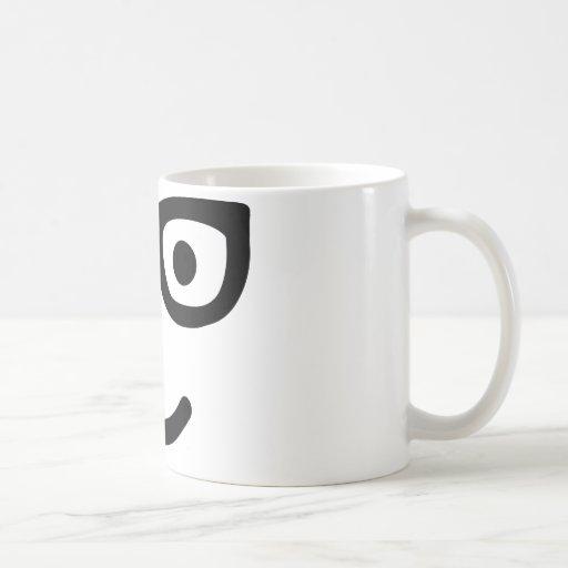 Empollón sonriente del friki de los vidrios tazas de café
