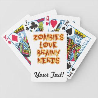 Empollones inteligentes del amor de los zombis baraja de cartas