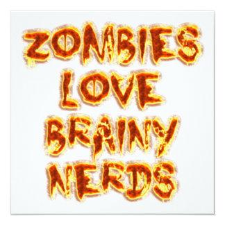 """Empollones inteligentes del amor de los zombis invitación 5.25"""" x 5.25"""""""