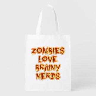 Empollones inteligentes del amor de los zombis bolsas de la compra