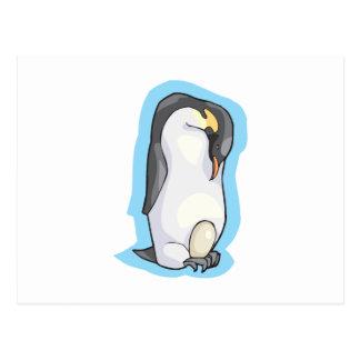 emporer penguin with egg postcard
