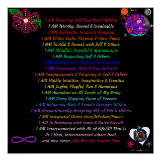 """Empowering Cosmic Affirmations, 20"""" x 20"""", Poster"""