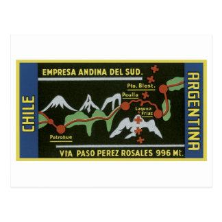 Empresa ANdina Del Sud, Chile, la Argentina Tarjeta Postal