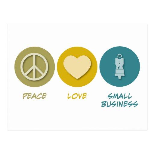 Empresa del amor de la paz pequeña tarjetas postales