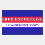 Empresa libre - el corazón de la libertad de los rectangular pegatina