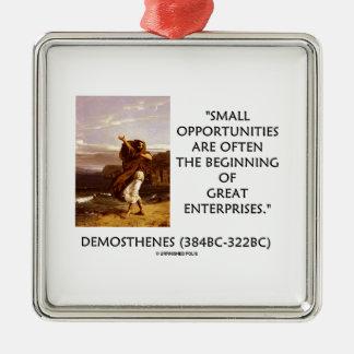 Empresas de las pequeñas oportunidades de adorno cuadrado plateado