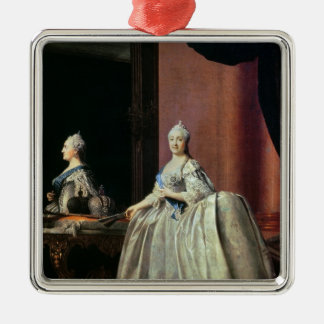 Empress Catherine II before the mirror, 1779 Metal Ornament