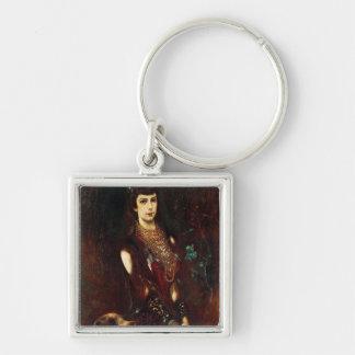 Empress Elizabeth of Austria, 1883 Silver-Colored Square Keychain