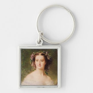 Empress Eugenie  and her Ladies in Waiting Silver-Colored Square Keychain