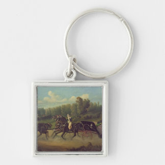 Empress Eugenie  and Queen Victoria  in the Silver-Colored Square Keychain