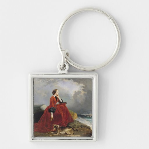 Empress Eugenie  at Biarritz, 1858 Silver-Colored Square Keychain