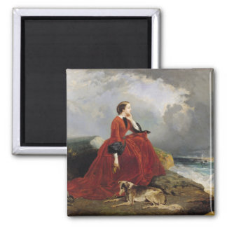 Empress Eugenie  at Biarritz, 1858 2 Inch Square Magnet