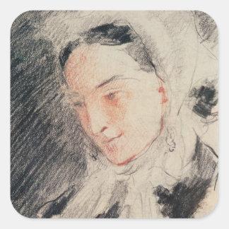 Empress Eugénie (black & red chalk) Square Sticker