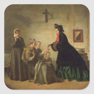 Empress Eugenie  Visiting the Unfortunate, 1864 Square Stickers