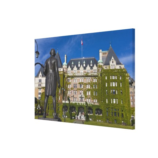 Empress Hotel and statue of Captain James Cook, Canvas Print