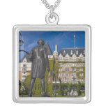 Empress Hotel and statue of Captain James Cook, Square Pendant Necklace