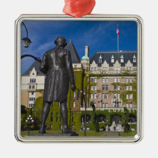 Empress Hotel and statue of Captain James Cook, Square Metal Christmas Ornament
