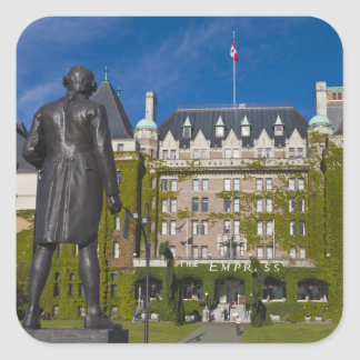 Empress Hotel and statue of Captain James Cook, Square Sticker