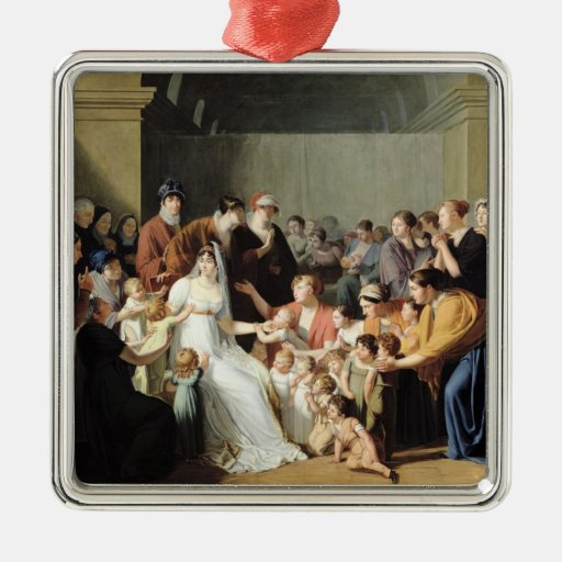Empress Josephine  Among the Children, 1806 Square Metal Christmas Ornament