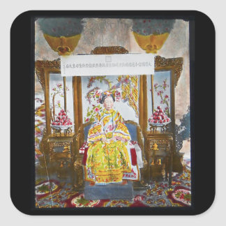 Empress of China Vintage Glass Slide Square Sticker
