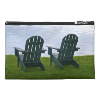 Empty Adirondack Chairs facing a Lake in NY, USA Travel Accessory Bag