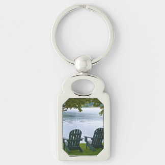 Empty Adirondack Chairs facing a Lake Silver-Colored Rectangular Metal Keychain