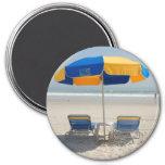 empty beach chairs 3 inch round magnet