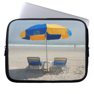 Empty Beach Chairs Computer Sleeves