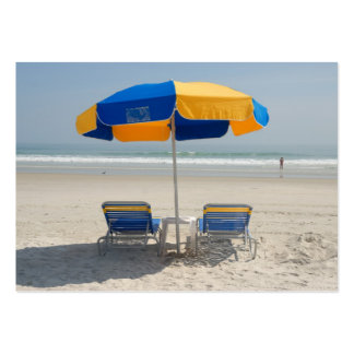 empty beach chairs large business card