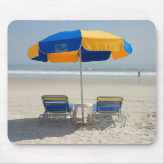 empty beach chairs mouse pad
